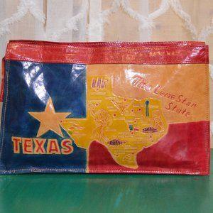 Vintage Leather Texas Lone Star Clutch Purse